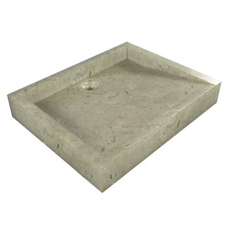 Luxusní mramorové umyvadlo na desku šedivé, obdélníkové, 40x50 cm