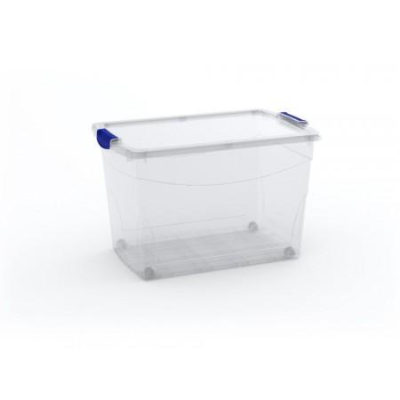 Extra velký úložný plastový box s kolečky, průhledný, 60 L