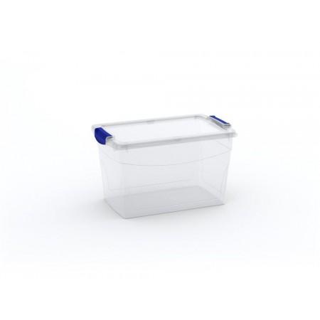 Velký úložný plastový box s víkem, průhledný, 29 L