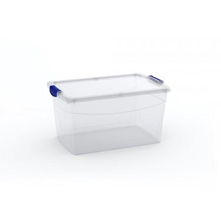 Velký úložný plastový box s víkem, průhledný, 50 L