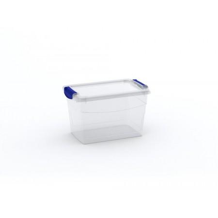 Větší úložný plastový box s víkem, průhledný, 16 L