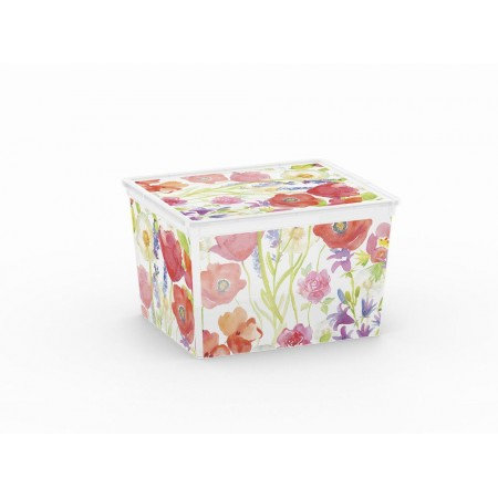 Plastový úložný box s víkem- potisk květin, 27 L