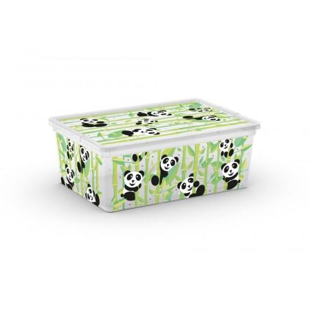 Plastový úložný box s víkem dekorativní, potisk medvídci, 11 L