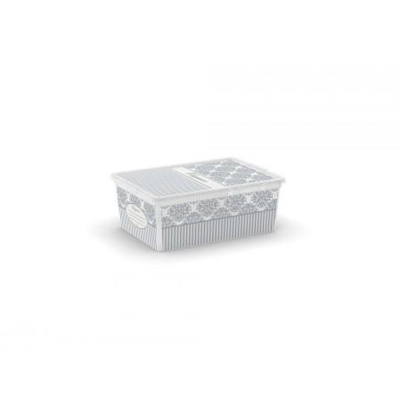 Menší úložný plastový box s dekorativním potiskem, 11 L