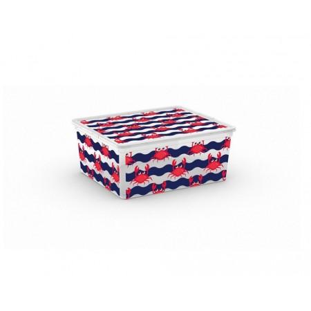 Plastová úložná bedna na hračky, s víkem, potisk krabi, 18 L