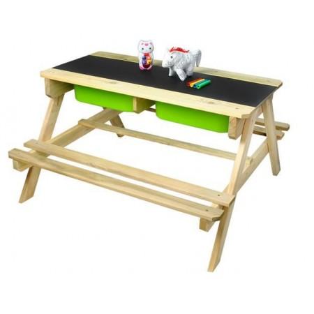 Dětská venkovní sestava nábytku z masivu, na hraní a učení, 89x90 cm