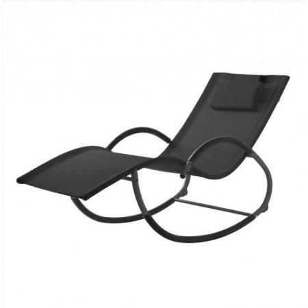 Odpočinkové venkovní houpací lehátko k bazénu / na terasu, ergonomické, černé