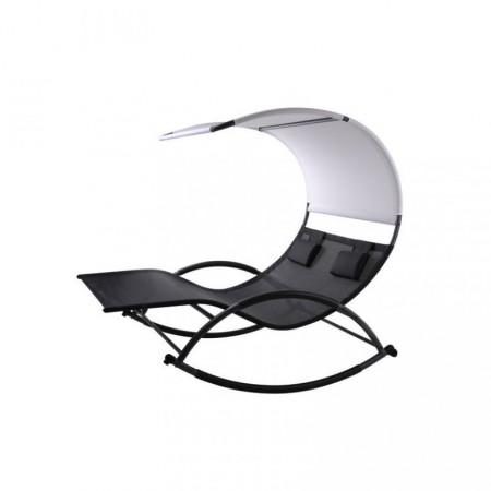 Luxusní venkovní houpací dvojlehátko k bazénu / na terasu, ergonomické, černá / bílá