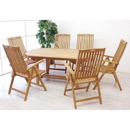 Větší rodinná jídelní sestava nábytku z teakového dřeva, skládací židle