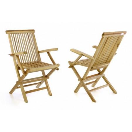 2 ks teaková skládací masivní židle na zahradu, s područkami