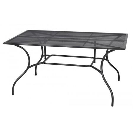 Větší masivní zahradní kovový stůl obdélníkový, tahokov, 150x90 cm