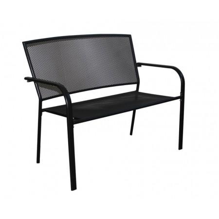 Kovová venkovní lavice pro 2 osoby, drátěná opěrka a sedák, 106 cm
