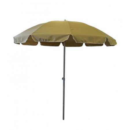 Kulatý slunečník ve tvaru deštníku, hlinková kostra, tmavě béžový, průměr 2,5 m