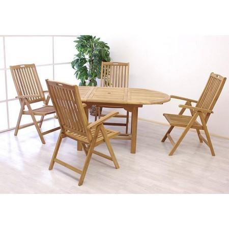 Set teakového venkovního nábytku pro 4 osoby, masiv, rozkládací stůl