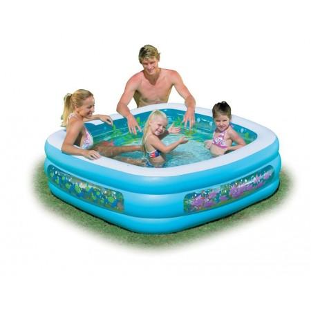 NAfukovací rodinný bazén čtvercový, potisk ryb, 1,59x1,59 m
