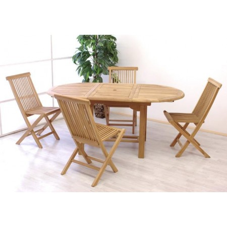 Set masivního venkovního teakového nábytku pro 4, rozkládací stůl