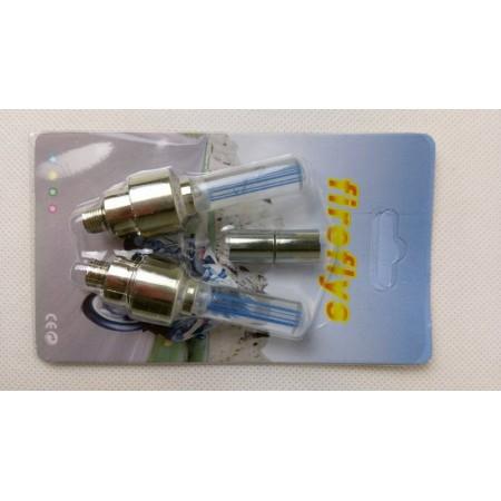 Barevná světla na ventilky, na baterie, modré, sada 2 ks