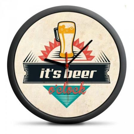 """Dárkové nástěnné hodiny """"Je čas na pivo"""", průměr 30 cm"""