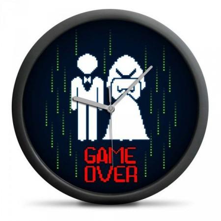 """Originální dárek pro svatebčany- hodiny """"Game Over"""""""