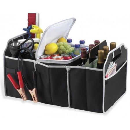 Taška s přihrádkami do kufru auta, černá, textilní, 60×30×35 cm