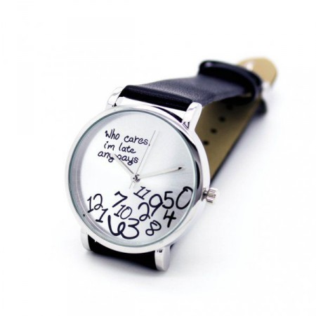 """Vtipné dárkové hodinky s rozsypanými číslicemi, """"Jsem všude pozdě"""", černé"""