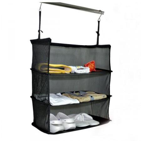 Skládací cestovní polička do skříně, textilní, 47*31*70 cm