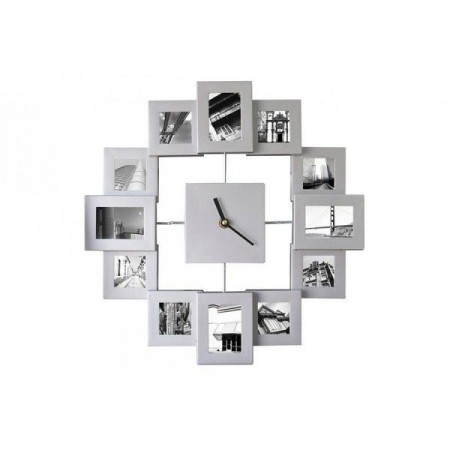Dekorativní hodiny na stěnu s rámečky na fotky, 45 cm