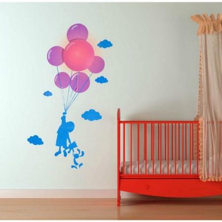 Nástěnná lampa do dětského pokoje spolu se samolepkami- dítě s balonky