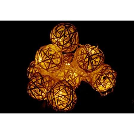 Dekorativní svítící ratanové koule - vánoční dekorace na baterie