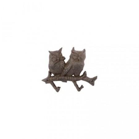 Dekorativní nástěnný věšák na oblečení s háčky, sovičky, 18 cm