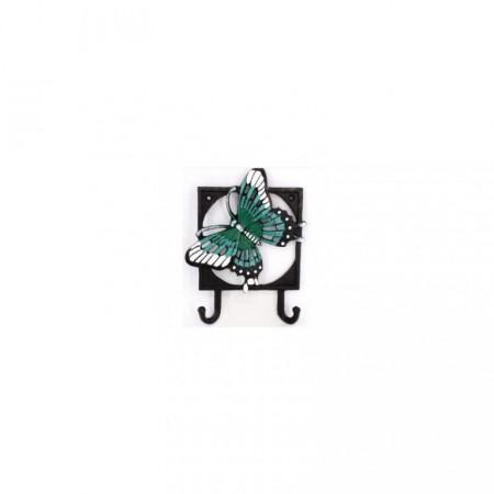 Dekorativní nástěnný věšák na oblečení s háčky, motýl, 18,2 cm