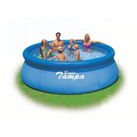 Samostavěcí bazén s nafukovacím kruhem, modrý, 3,66x0,91m, bez filtrace