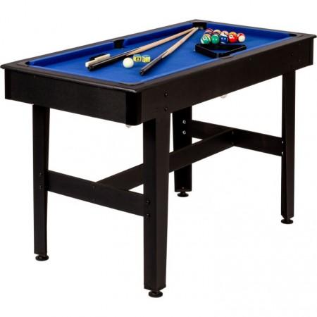 Levný kulečníkový stůl do domácnosti 4 FT, tmavý dřevodekor / modrá, 122x61x76 cm