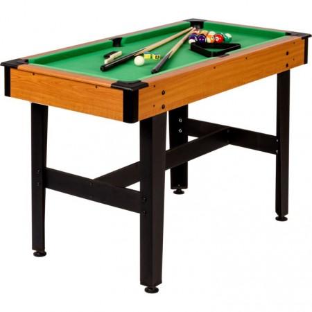 Levný kulečníkový stůl do domácnosti 4 FT, dřevodekor / zelená, 122x61x76 cm