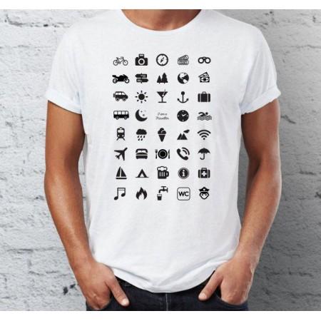 Tričko pro cestovatele, ikony, bílé, 100% bavlna, vel. L