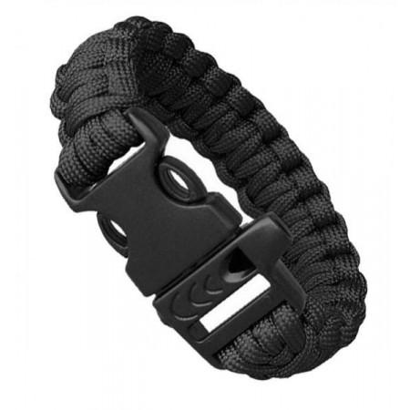 Náramek pro přežití (lano, křesadlo a ocílka, píšťalka), černý