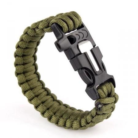 Náramek pro přežití (lano, křesadlo a ocílka, píšťalka), army zelená