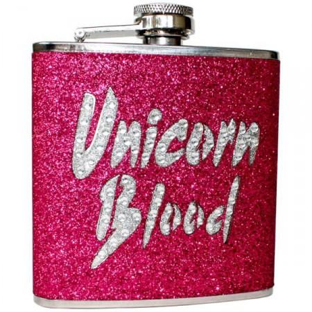"""Luxusní dámská plácačka, """"krev jednorožce"""", růžová / stříbrná, 170 ml"""
