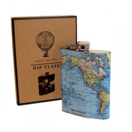 Dárková placatka pro cestovatele - potisk mapa světa