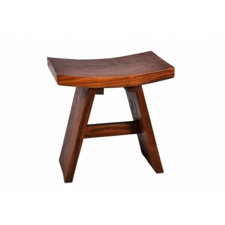 Menší designová prohnutá stolička - masivní dřevo SUAR, tmavě hnědá