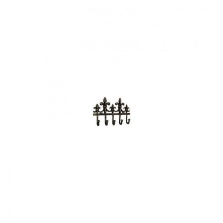 Kovový nástěnný věšák s háčky- královská lilie, 18 cm