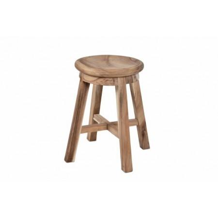 Kulatá designová stolička, interiér / exteriér, masiv SUAR, 49 cm