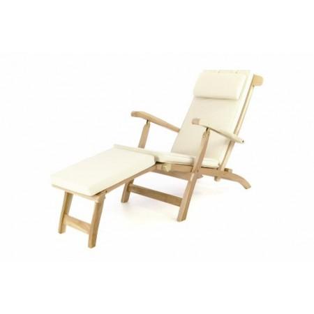 Luxusní teakové zahradní lehátko / křeslo, odnímatelná podnožka + polstrování, béžové