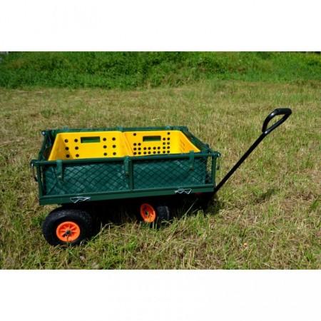 Ruční zahradní vozík se 4 kolečky, pro 2 přepravky, nosnost 150 kg