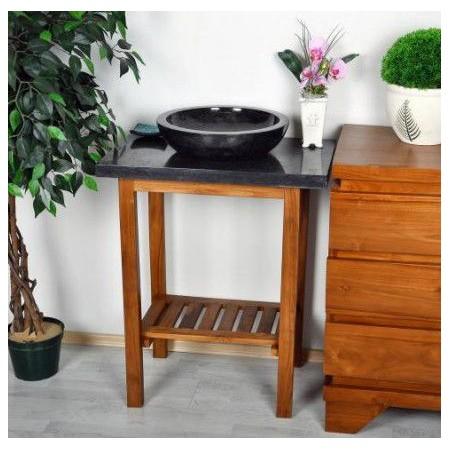 Designový stolek pod kamenné umyvadlo, teakové dřevo / tmavý mramor, 79,5 cm