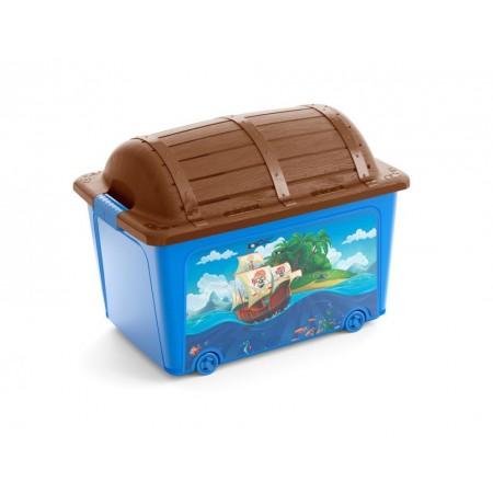 Velký úložný plastový box do dětského pokoje - pirátská truhla, 50 L