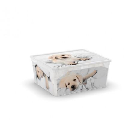 Úložný plastový box s víkem, průhledný + potisk psi, 18 L
