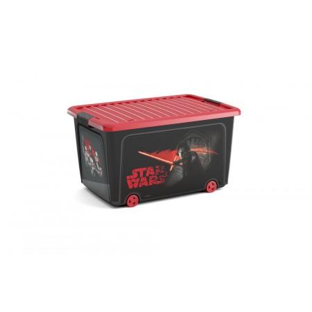 Velký úložný box do dětského pokoje, červená / černá, s kolečky, 50 L