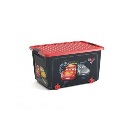 Velký úložný box do dětského pokoje, červená / černá - Auta, s kolečky, 50 L