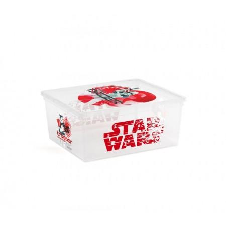 Úložný plastový box s víkem, průhledný + potisk Star Wars, 18 L